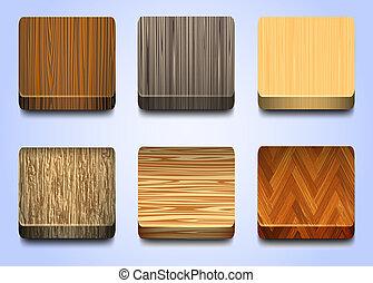 legno, sei, struttura, icone