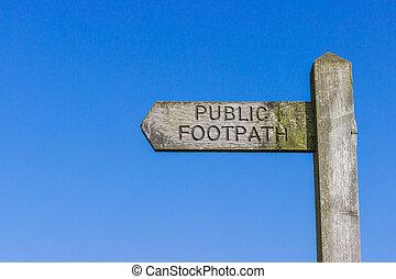legno, sentiero, pubblico, segno