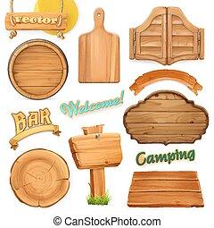 legno, set., emblem., vettore, sagoma, segno, logotipo, 3d