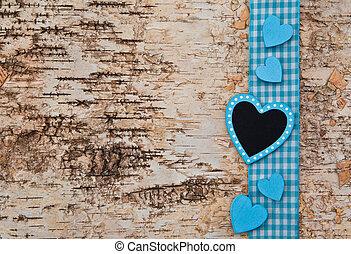 legno, sfondo blu, cuore