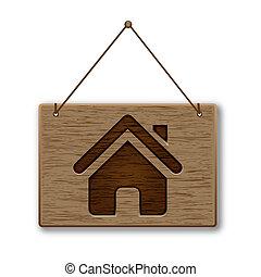 legno, signpost, icona, casa