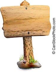 legno, signpost, singolo, vuoto