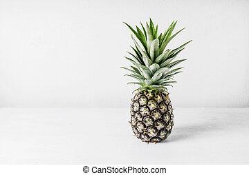 legno, sopra, fondo, ananas, tavola, bianco