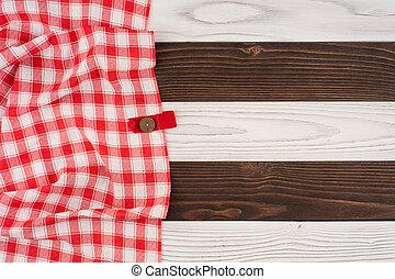 legno, sopra, piegato, tovaglia, tavola, rosso