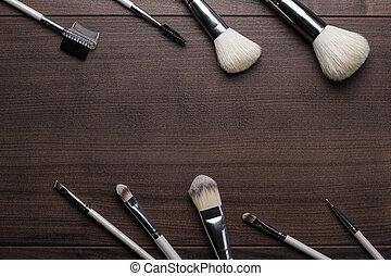 legno, spazzole, fondo, trucco