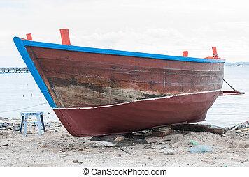 legno, spiaggia, barca