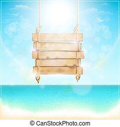 legno, spiaggia., segno bianco