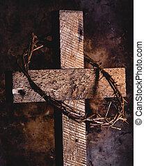 legno, spine, corona, croce