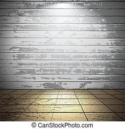 legno, stanza bianca, pavimento pavimentato