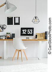legno, stanza, scrivania