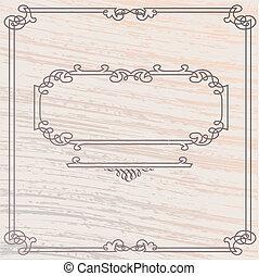 legno, stile, vecchio, cornice, elegante, vettore, intarsio