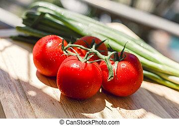 legno, succoso, tagliere, pomodori freschi
