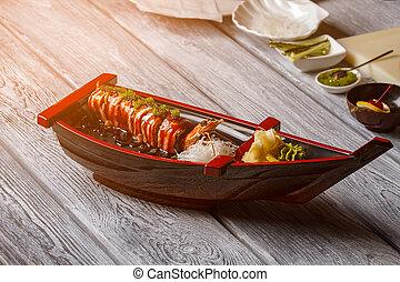 legno, sushi, surface., barca