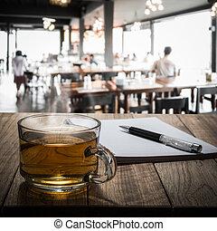 legno, tè, caldo, penna, quaderno, tavola