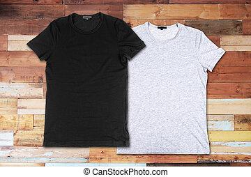 legno,  T-shirts, superficie, vuoto