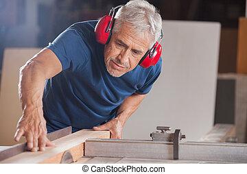 legno, taglio,  tablesaw, maschio, carpentiere