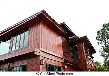 legno, tailandese, casa