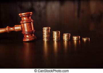 legno, tassa, concept., giudice, pila, pagamento, gavel., monete