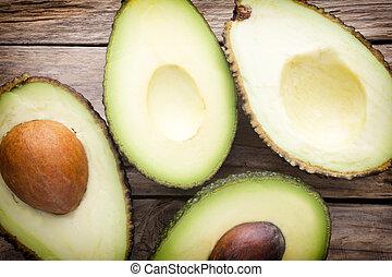 legno, tavola., parti, avocado