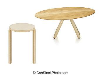 legno, tavola rotonda, e, sgabello