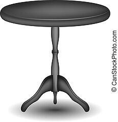 legno, tavola rotonda, in, nero, disegno