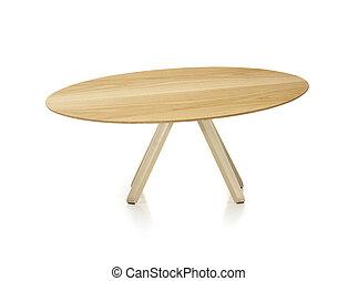 legno, tavola rotonda, isolato, bianco