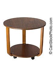 legno, tavola rotonda, sopra, sfondo bianco