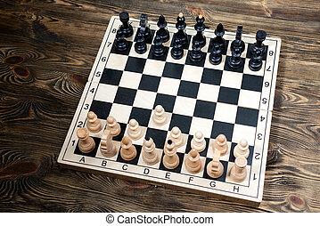 legno, tavola., scacchiera