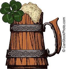 legno, tazza, birra