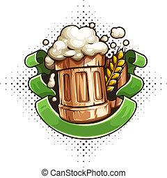 legno, tazza, nastro, birra, schiuma