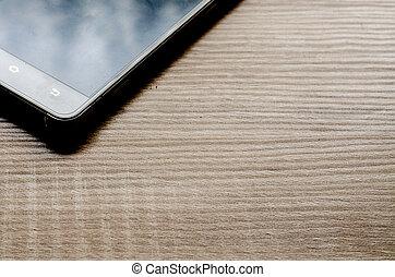 legno, telefono, far male, fondo, tavola