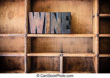 legno, tema, concetto, letterpress, vino