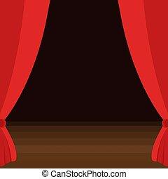 legno, tenda, pavimento, palcoscenico, marrone