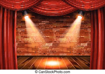 legno, tenda, rosso, palcoscenico