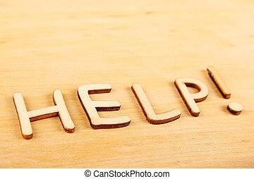legno, testo, aiuto