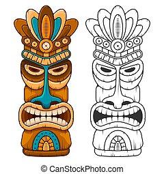 legno, tiki, maschera