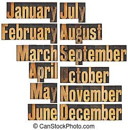 legno, tipo, letterpress, mese