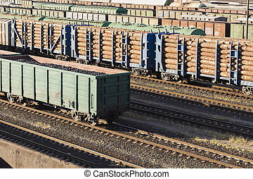 legno, trasporto, automobili, wood., rail., caricato