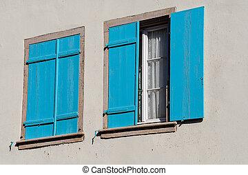 legno, turchese, finestra, otturatori