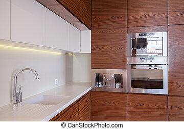 legno, unità, cucina