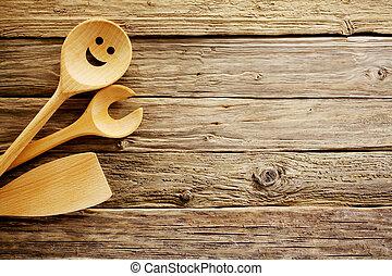 legno, utensili cottura, bordo