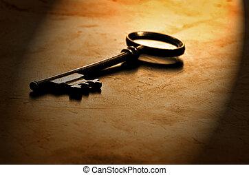 legno, vecchio, chiave, portato