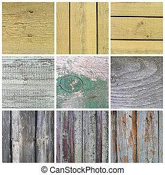 legno, vecchio, collezione, struttura, assi