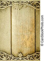 legno, vecchio, cornice, thailand., intagliato