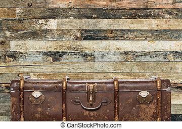 legno, vecchio, fondo, valigia