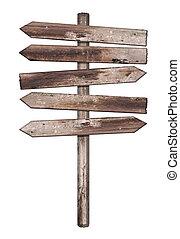 legno, vecchio, isolato, alterato, segno