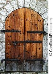 legno, vecchio, pietra, porta, wall.