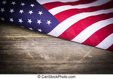 legno, vendemmia, bandiera, americano, fondo