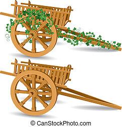 legno, vendemmia, carrello