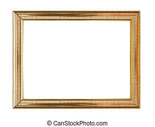legno, vendemmia, cornice, isolato, fondo, bianco